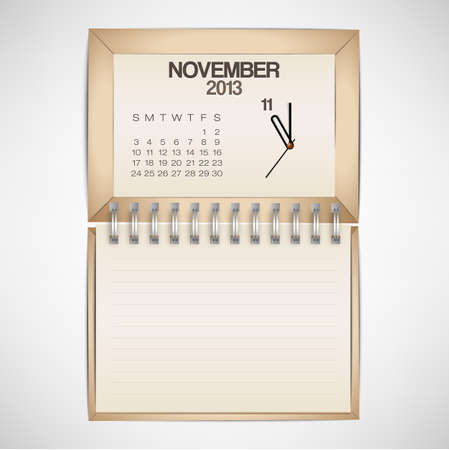 2013 Calendar November Clock Design Vector Stock Vector - 17750767