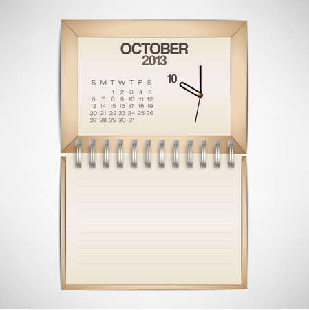 2013 Calendar October Clock Design Vector Stock Vector - 17750768