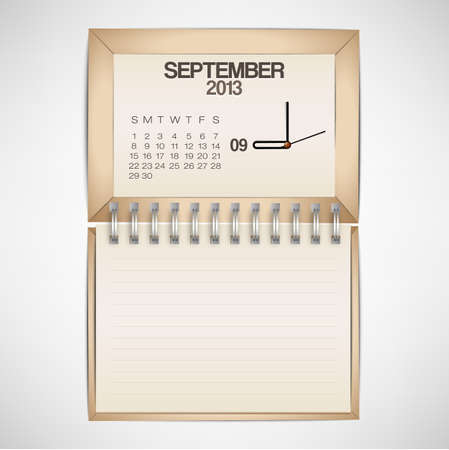 2013 Calendar September Clock Design Vector Stock Vector - 17750770