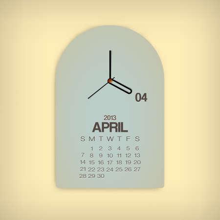 2013 Calendar April Clock Design Vector Stock Vector - 17750791