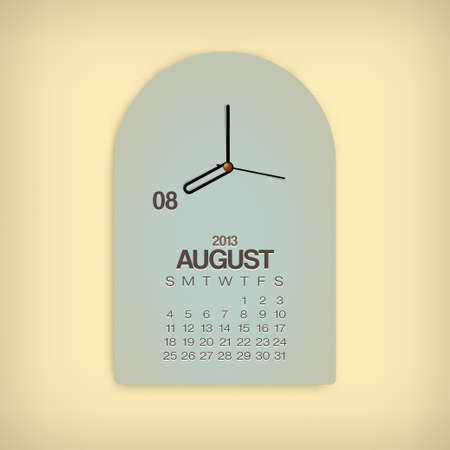 2013 Calendar August Clock Design Vector Stock Vector - 17750795