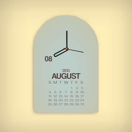 2013 Calendar August Clock Design Vector Stock Vector - 17750795