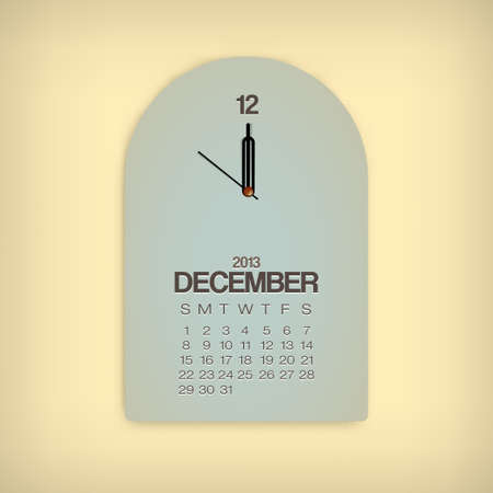 2013 Calendar December Clock Design Vector Stock Vector - 17750798