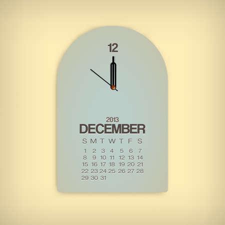 2013 Calendar December Clock Design Vector Stock Vector - 17750798