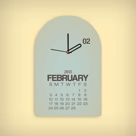 2013 Calendar February Clock Design Vector Stock Vector - 17750807