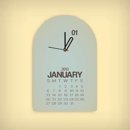 2013 Calendar January Clock Design Vector Stock Vector - 17750808