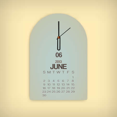 2013 Calendar June Clock Design Vector Stock Vector - 17750806