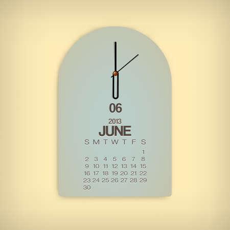 2013 Calendar June Clock Design Vector Stock Vector - 17750806