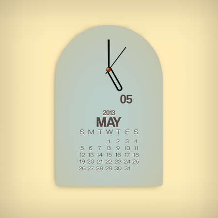 2013 Calendar May Clock Design Vector Stock Vector - 17750796