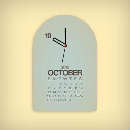 2013 Calendar October Clock Design Vector Stock Vector - 17750794