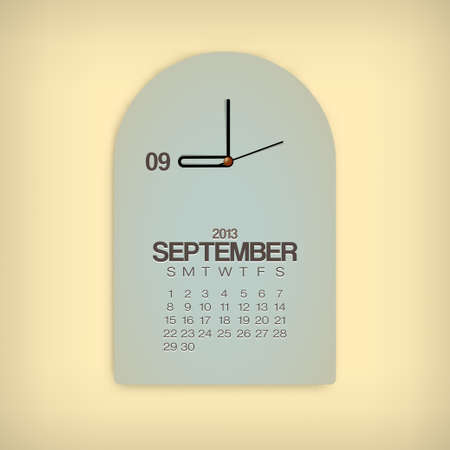 2013 Calendar September Clock Design Vector Stock Vector - 17750793