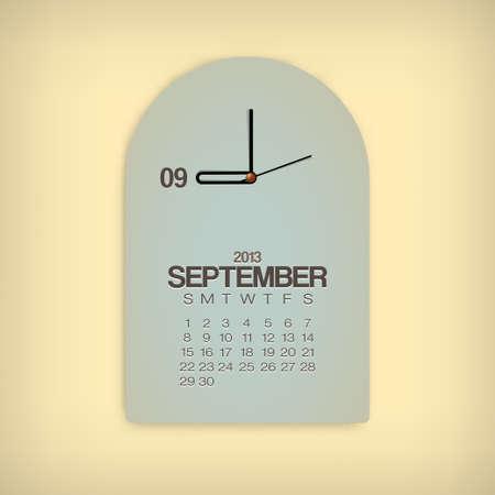 2013 Calendar September Clock Design Vector Stock Vector - 17750793