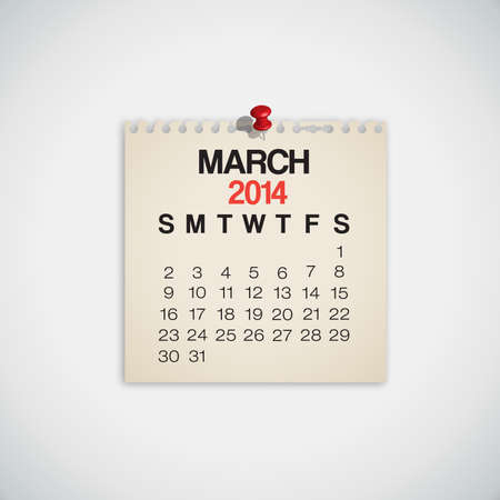 2014 Calendar March Notebook Design Vector