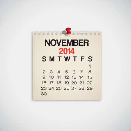 2014 Calendar November Notebook Design Vector Vector