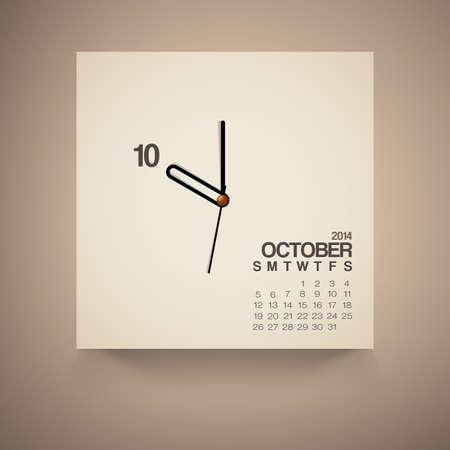 kalender oktober: 2014 Kalender oktober Notebook Ontwerp Vector Stock Illustratie