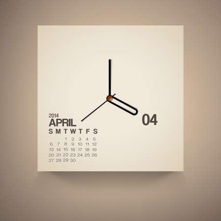 2014 Calendario abril Notebook dise�o vectorial Vectores