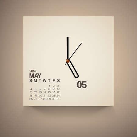 may calendar: 2014 Calendar May Notebook Design Vector Illustration