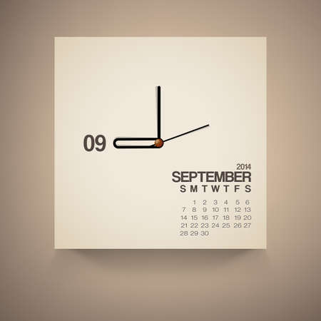 2014 Calendar September Notebook Design Vector