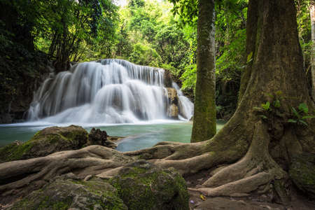 khamin: Huai Mae Khamin Waterfall Kanchanaburi Thailand Stock Photo