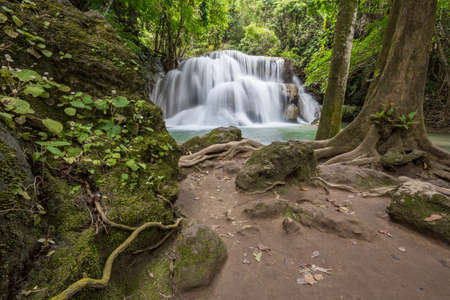 Huai Mae Khamin Waterfall Kanchanaburi Thailand Stock Photo - 26578903