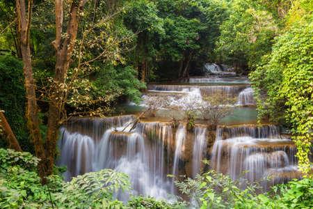 Huai Mae Khamin Waterfall the most popular places in Kanchanaburi Stock Photo - 26578904