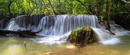 Huai Mae Khamin Waterfall the most popular places in Kanchanaburi Stock Photo - 26171009