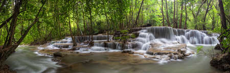 rain forest background: Huai Mae Khamin Waterfall the most popular places in Kanchanaburi