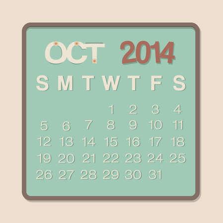 kalender oktober: 2014 Kalender oktober Papier Ontwerp Illustratie Stock Illustratie