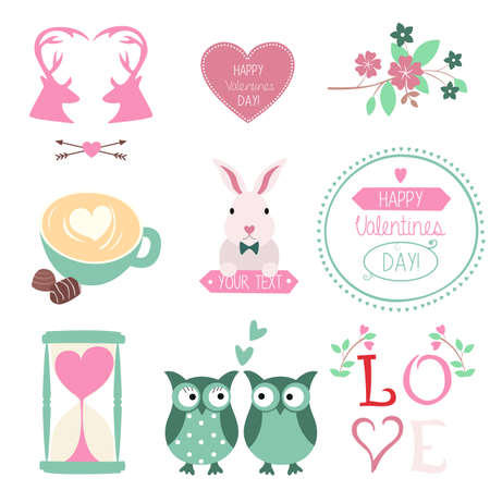 Vector set of Valentines Day illustrations and graphic elements Vector
