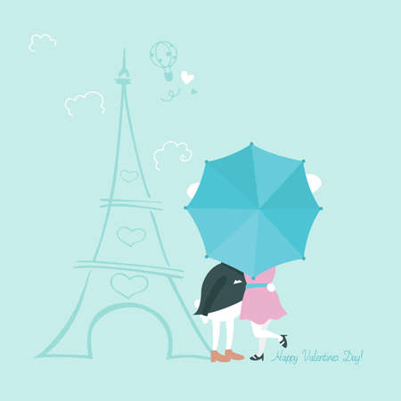 Cute bunnies behind umbrella. Greeting card for Valentines Day. Vector