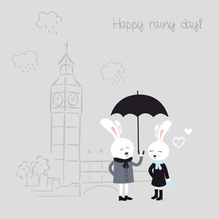 Cute bunnies with umbrella. Greeting card for Valentines Day. Vector