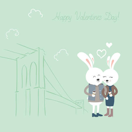 Cute bunnies with coffee. Greeting card for Valentines Day. Vector