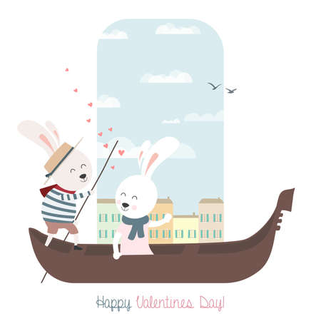 Cute bunnies in gondola. Greeting card for Valentines Day. Vector