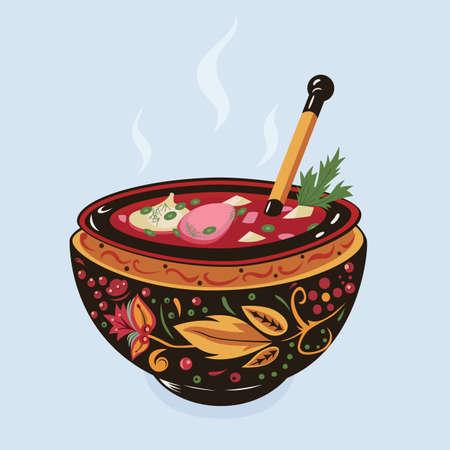 伝統的なウクライナ スープ ボルシチのベクトル イラスト