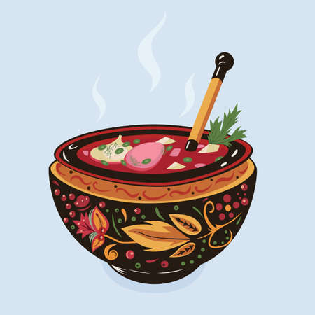 Vector illustration of traditional Ukrainian soup Borsch