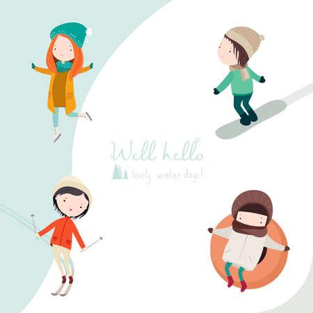 Vector Set of winter sport activities illustrations
