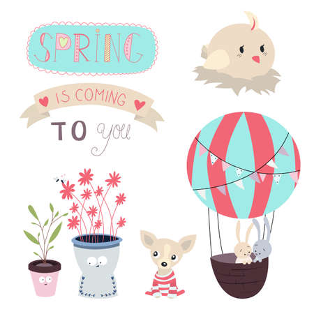 Set of illustrations and graphic elements on the theme of Spring. Vector