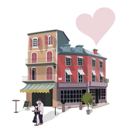 caf: Vector illustration of kissing couple in a street caf? on some Europe street. Greeting card for Valentines Day.