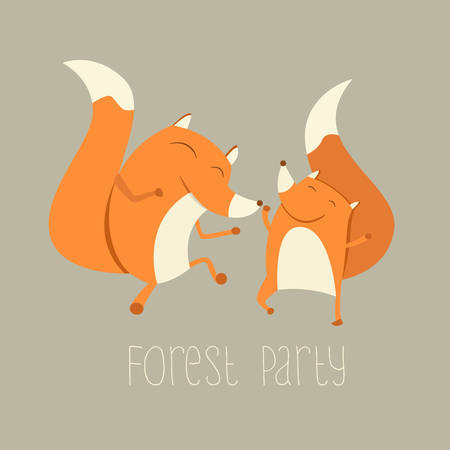 zoo animal: Vector Illustration of Cute Dancing Foxes.