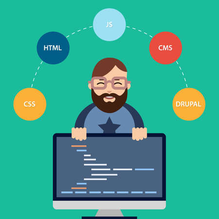 java script: Vector Flat Illustration of Male Computer Programmer or Web Developer at his Workplace.