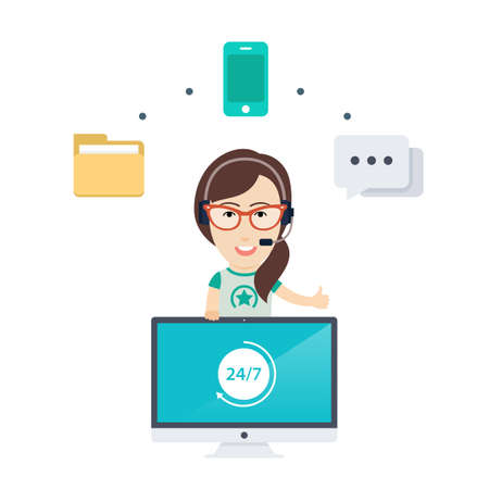girl wearing glasses: Vector Flat Illustration or Icon of a Pretty Smiling Call Center Girl wearing Glasses and a Headset Surrounded by Various Web Icons for Chat, Phone and FAQ. Illustration