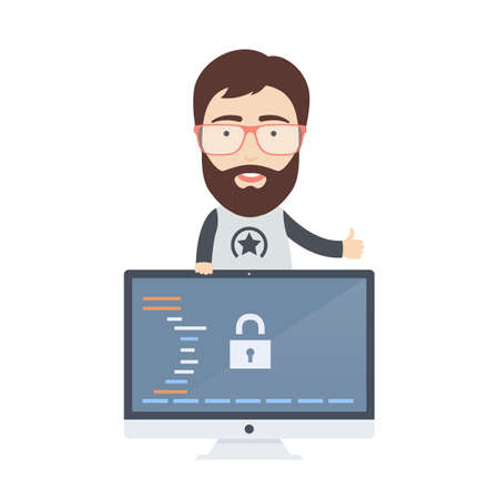 Vector Flat Illustration of a Cute Bearded Male Computer Programmer or Web Developer in Glasses. Vectores