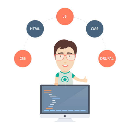 developer: Vector Flat Illustration of a Cute Male Computer Programmer or Web Developer with Monitor.