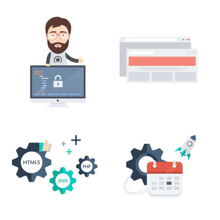 Set of Web Development Vector Icons and Illustrations. Includes Male Computer Programmer or Web Developer, Browser, Calendar and Gears. Çizim