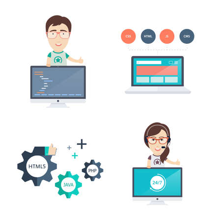 programmers: Web Development Icons and Illustrations Set in Flat Design Style. Includes Male and Female Computer Programmers or Web Developers, Laptop and Gears.