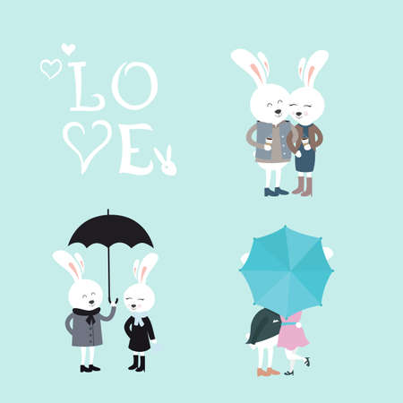 intrigue: Set of Cute Couples of Bunnies in Different Situations. Vector Illustration in Flat Style.