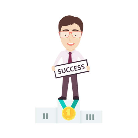 recompense: Businessman Standing on First Place of the Winner?s Podium. Conceptual Vector Flat Illustration Depicting Someone?s Business Success.
