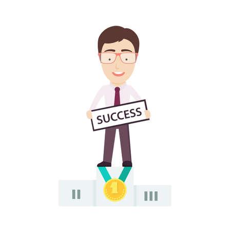 rewarded: Empresario de pie en el primer lugar del ganador? S Podio. Conceptual vectorial Flat Ilustraci�n que representa a alguien? S �xito de negocio.