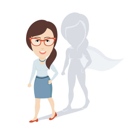 Conceptual Vector Illustration of Ordinary Business Woman or Female Office Worker with Superhero Shadow. Flat Cartoon Design.