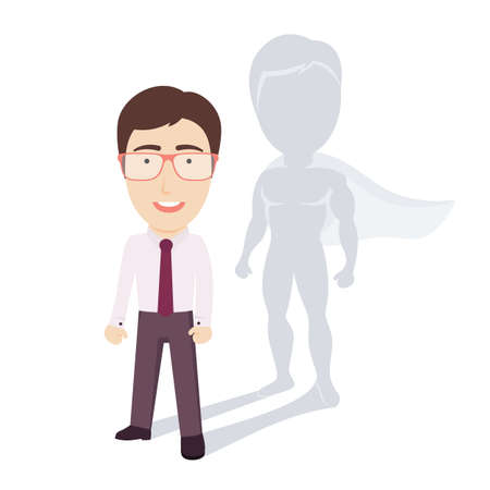 ordinary: Conceptual Vector Illustration of Ordinary Businessman or Office Worker with Superhero Shadow. Flat Cartoon Design.